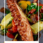 grilled octopus salad on a made of australia plate