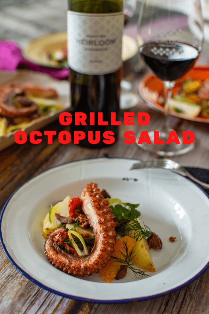 heirloom touriga wine, wine glass, grilled octopus salad and food in background on a picnic rug