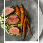 pork tenderloin, creamed spianch & carrots on a made of australia plate