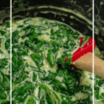 creamed spinach in a scanpan saucepan