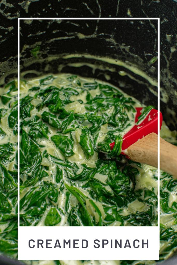 creamed spinach in a scanpan saucepan