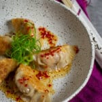 pork & prawn dumplings in a bowl