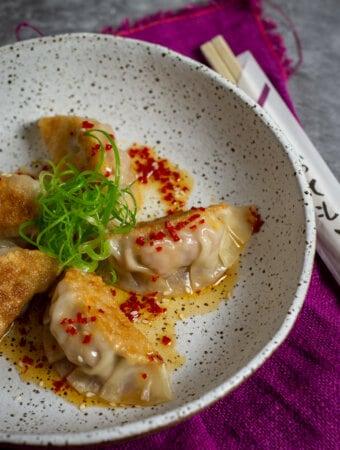 pork & prawn dumplings in a bowl