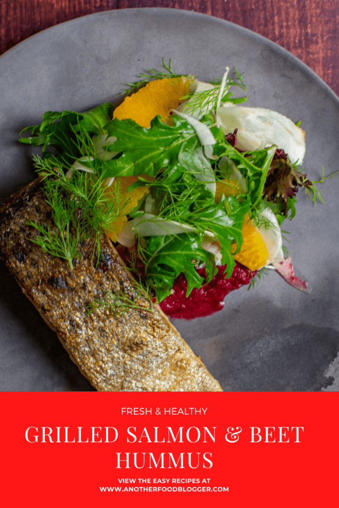 grilled salmon, beetroot hummus & fennel salad on a made of australia plate