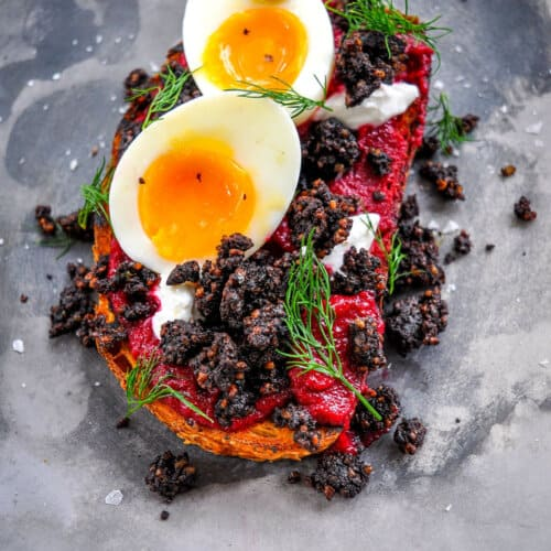 Black pudding and eggs served on toast