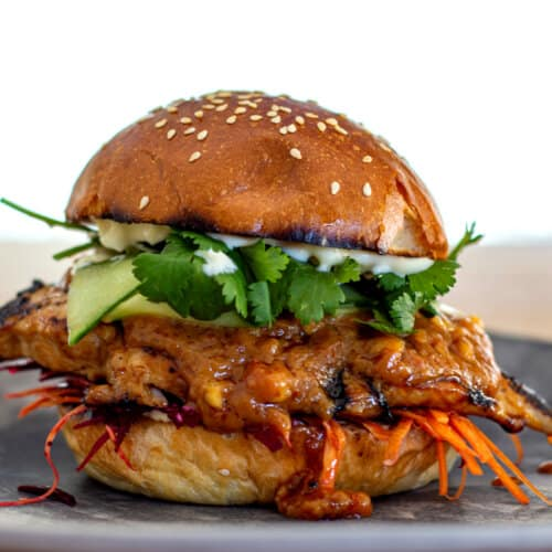 chicken satay burger on a plate