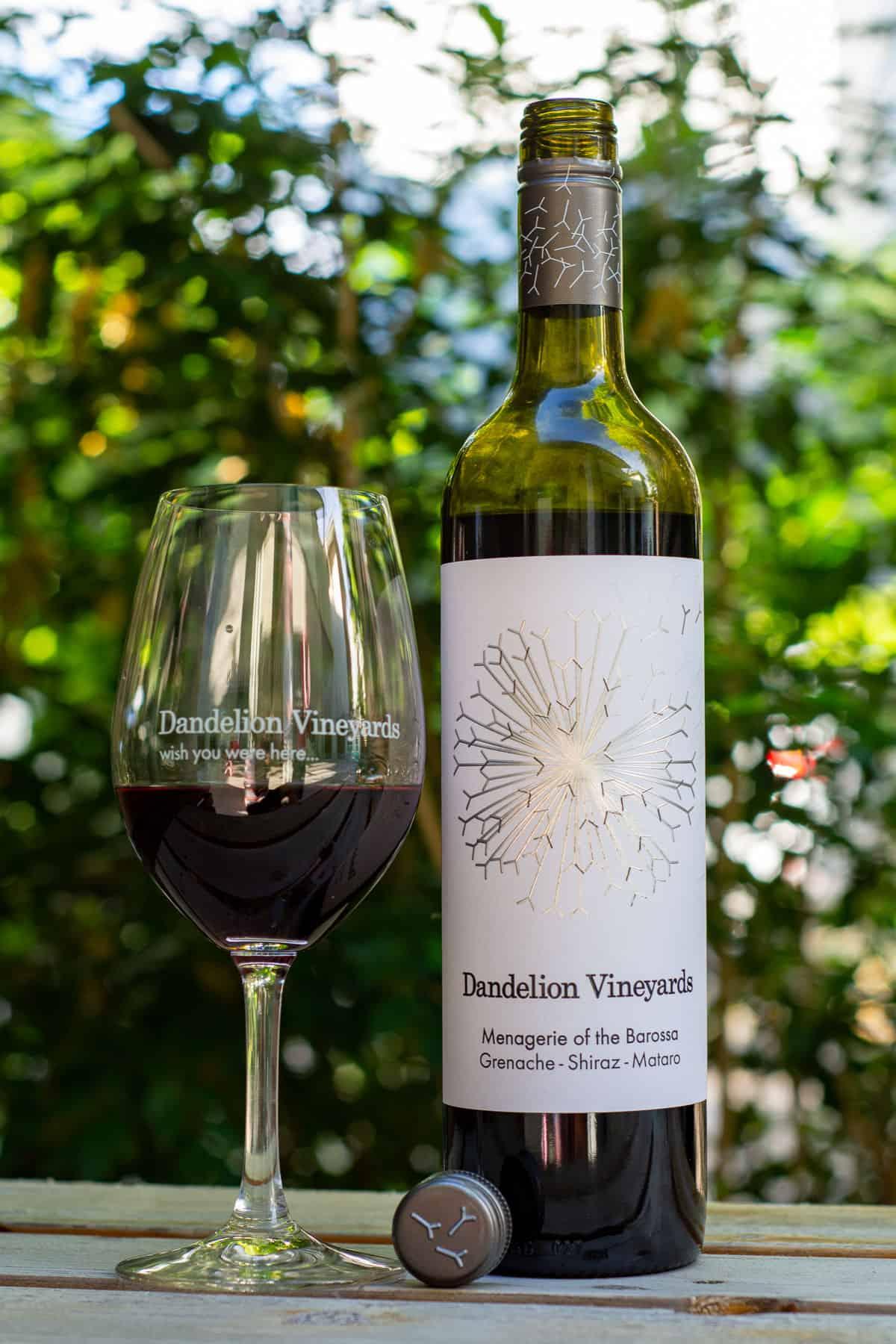 Dandelion GSM wine bottle and glass