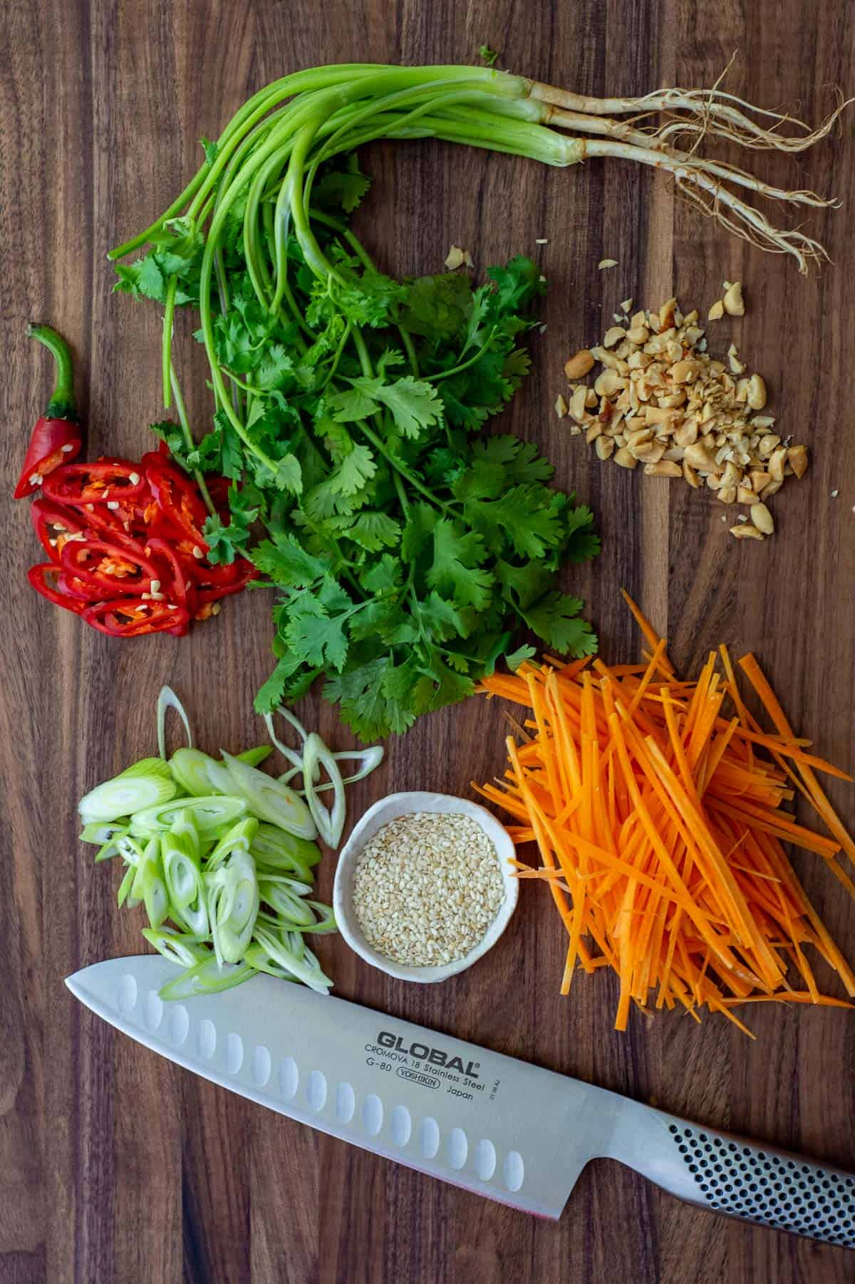 vegetables on a global chopping board