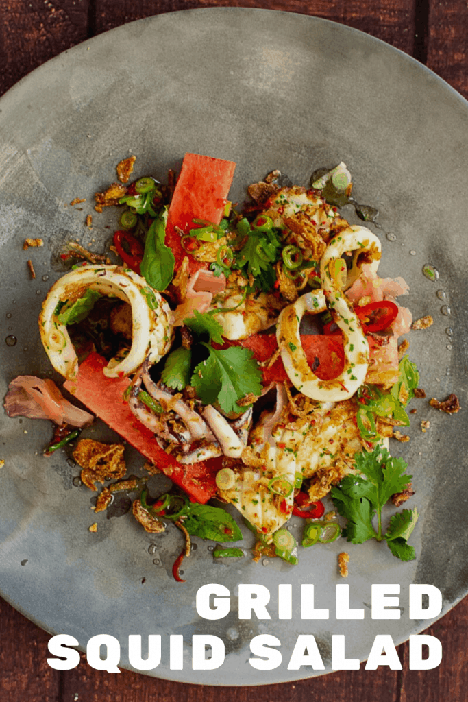 grilled squid salad on a made of australia plate