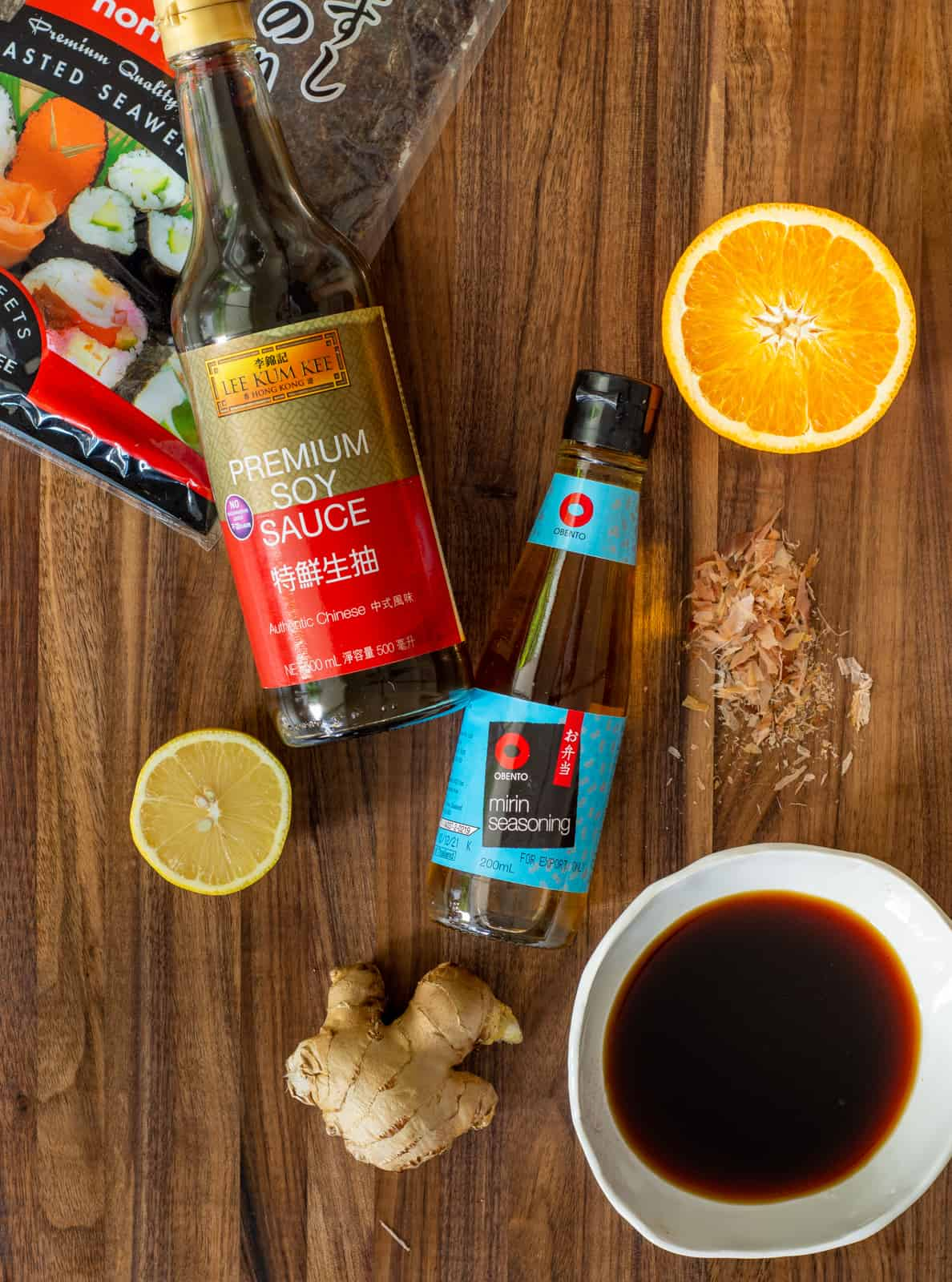 Ponzu sauce ingredients on a chopping board