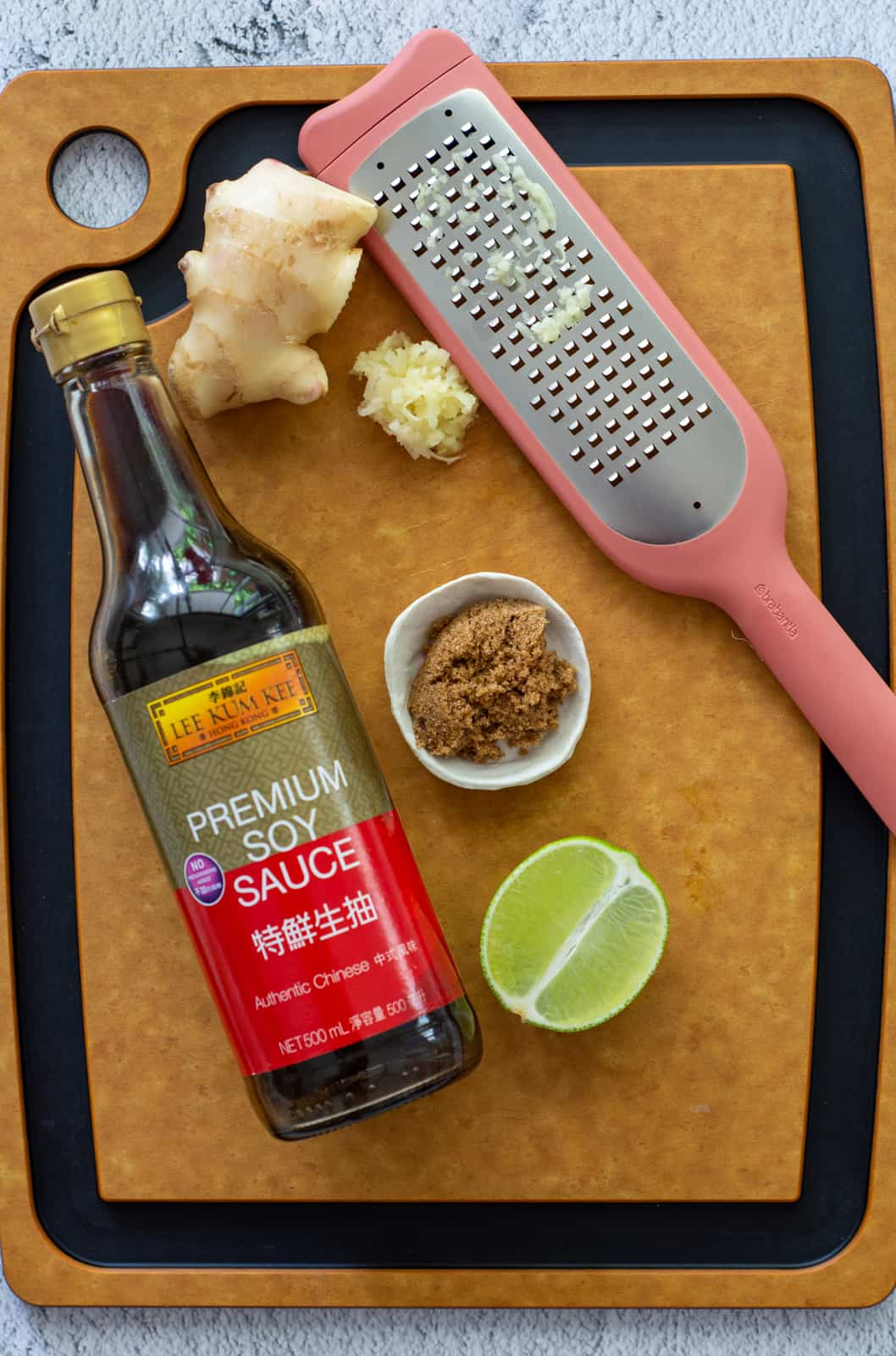 asian salad dressing ingredients on a chopping board