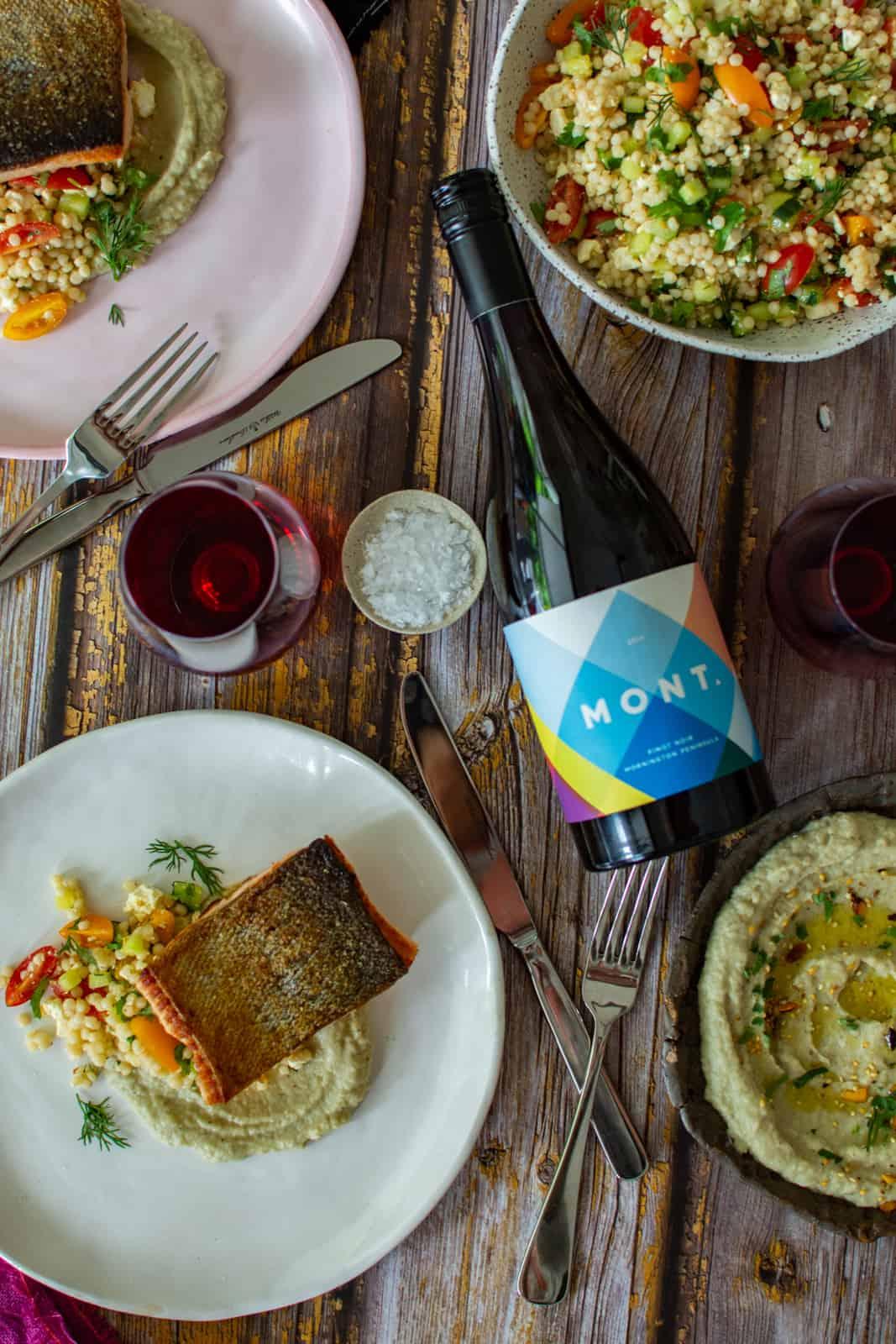 Moroccan salmon, baba ghanoush, pearl couscous & Mont pinot noir