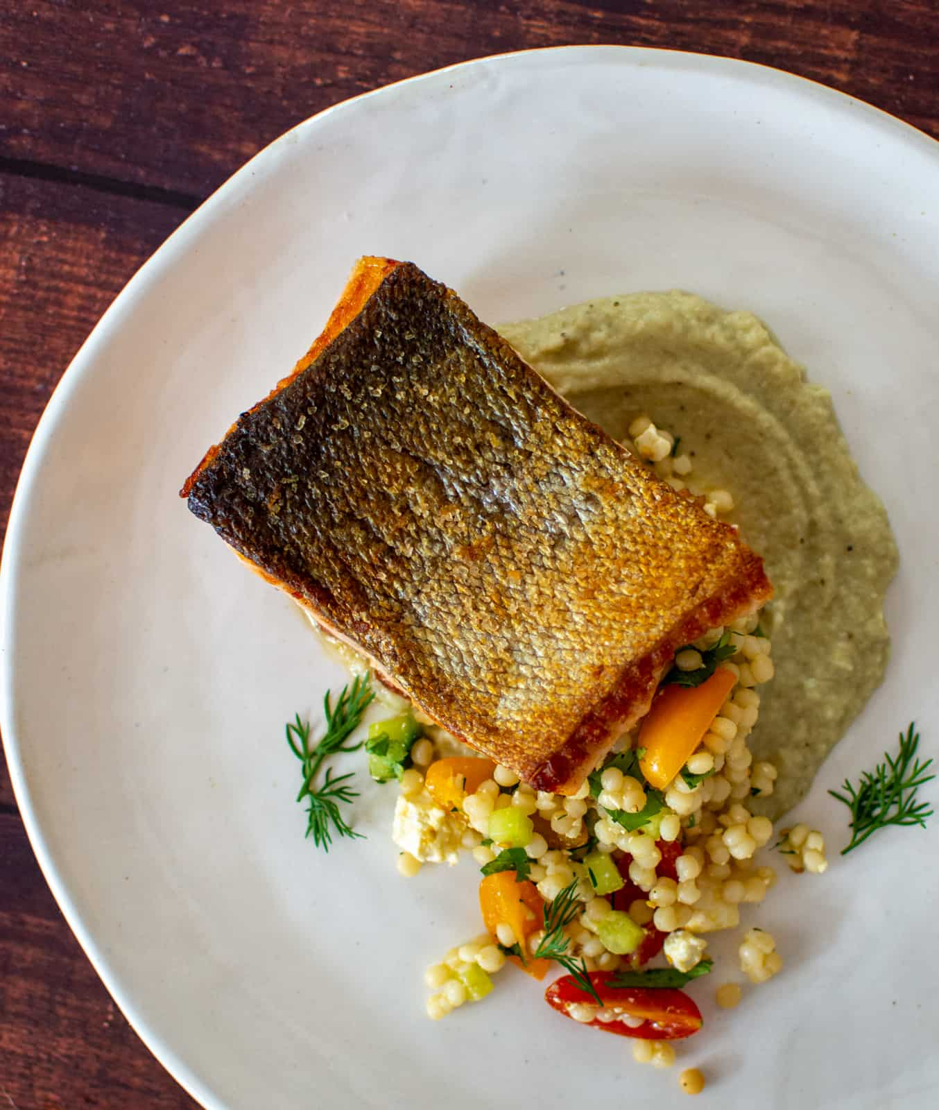 morccan salmon on a white plate