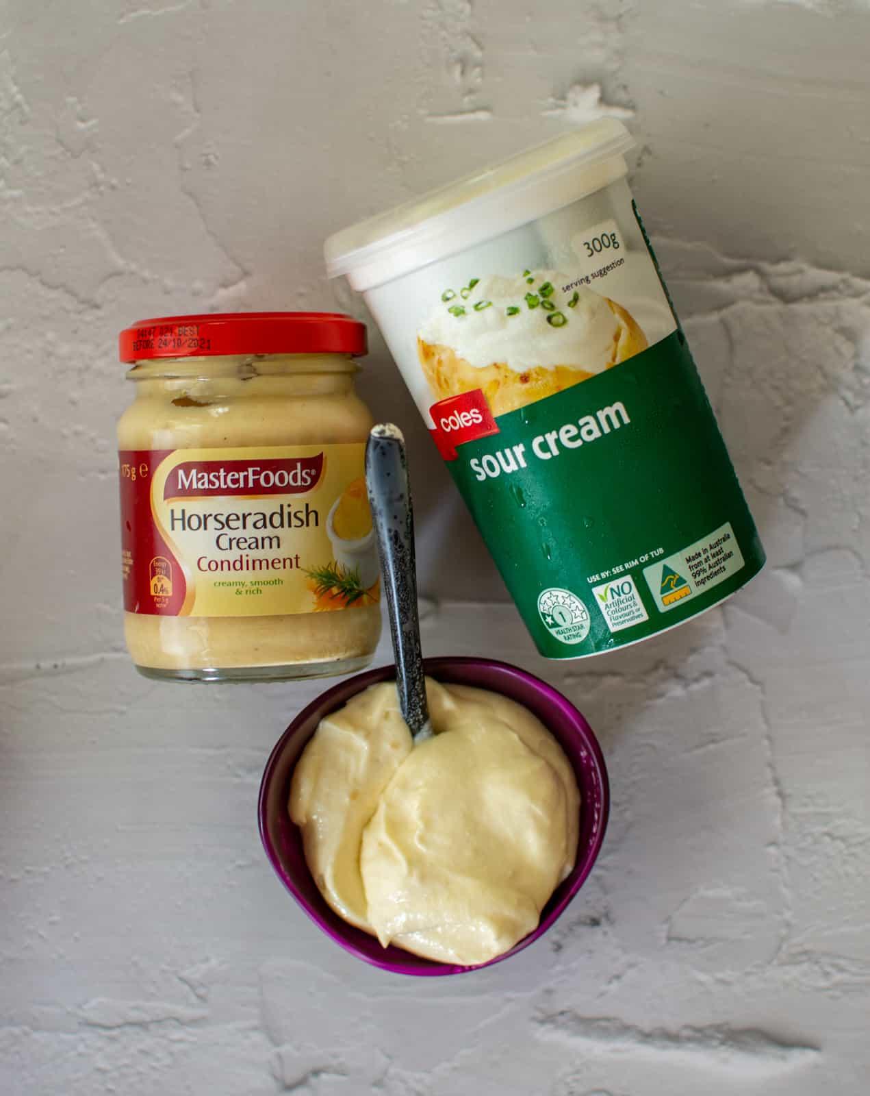 horseradish & sour cream on a white background