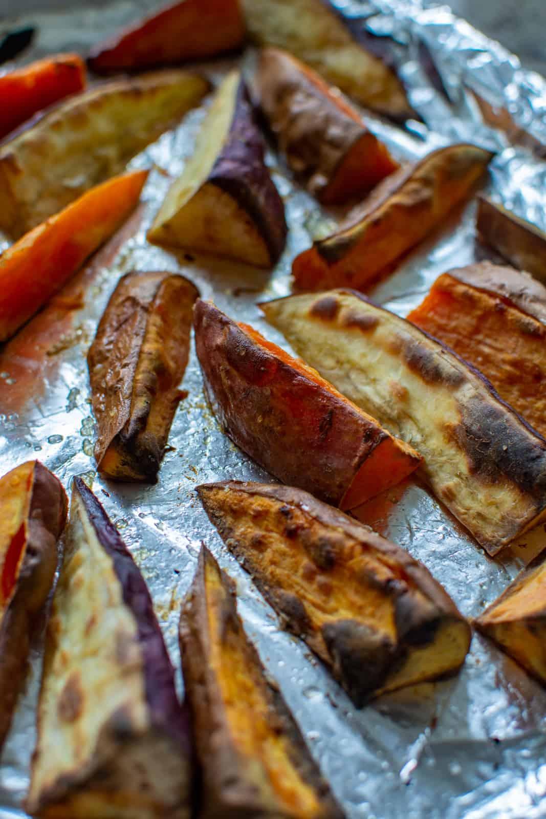 roasted sweet potatoes on a baking tray