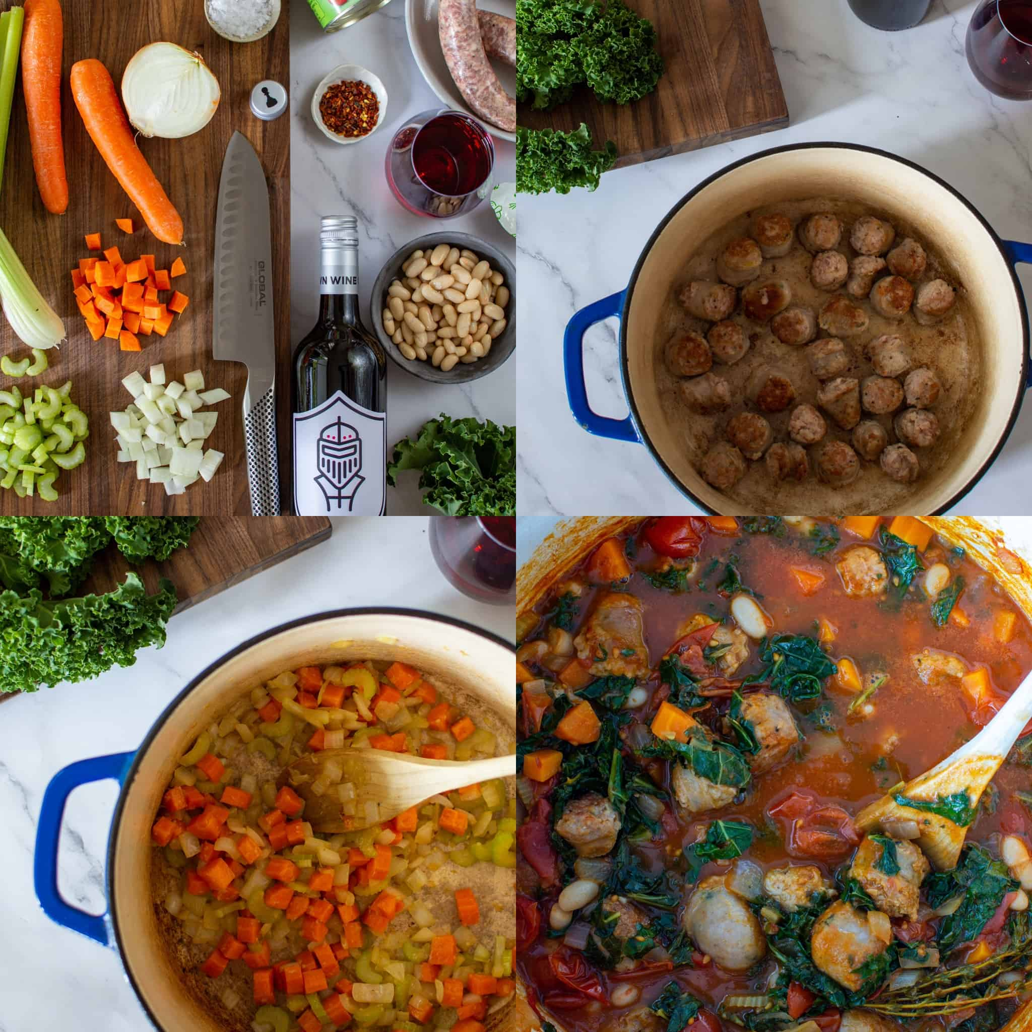 4 images showing how to make tuscan sausage stew