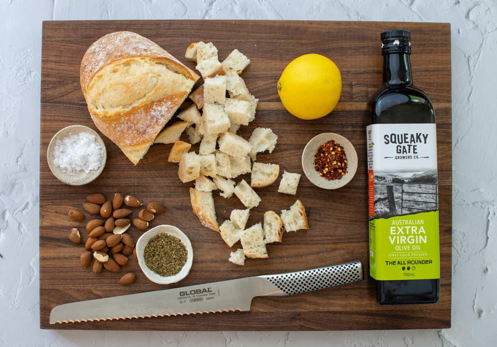 breadcrumb ingredients on a chopping board