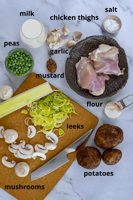 Ingredients for chicken and mushroom pie