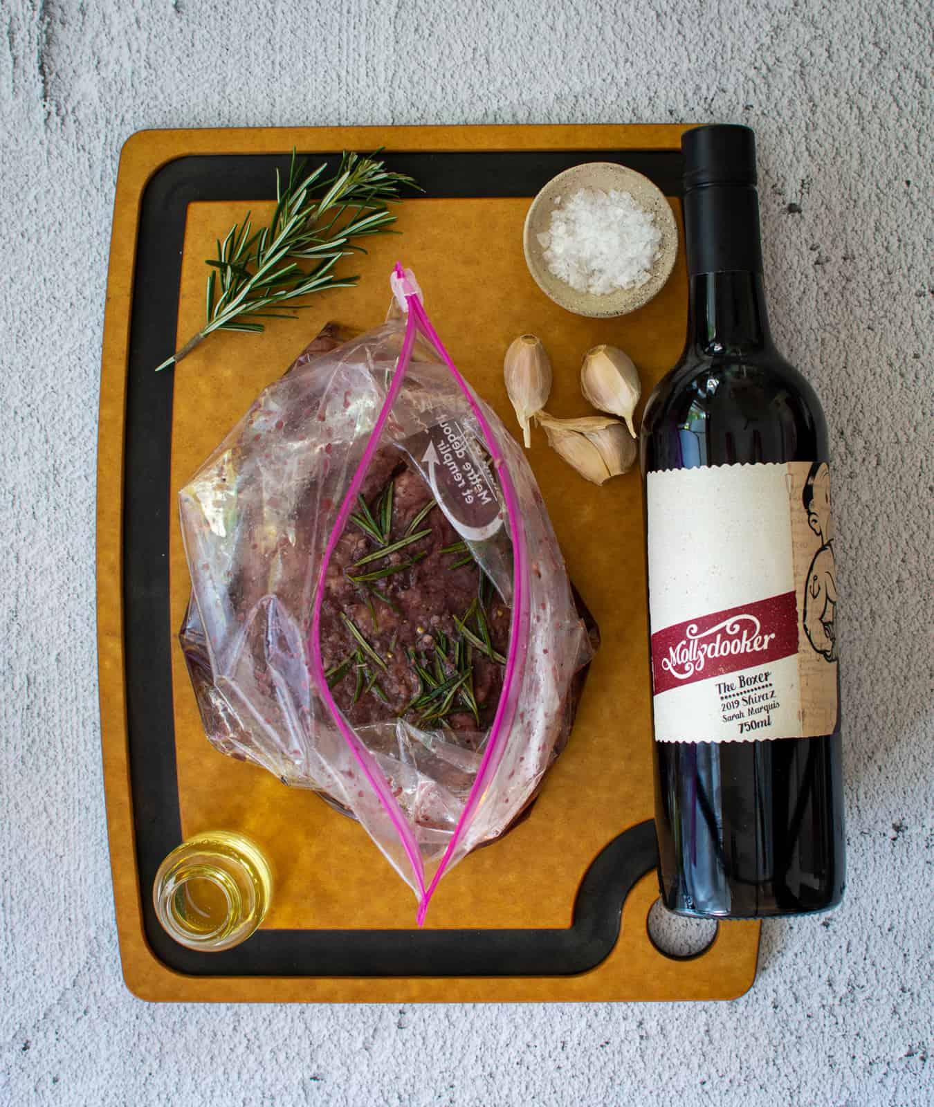 red wine marinated steak & mollydooker wine