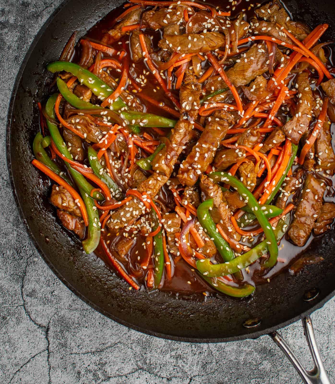 Korean beef stir-fry in a scanpan frying pan