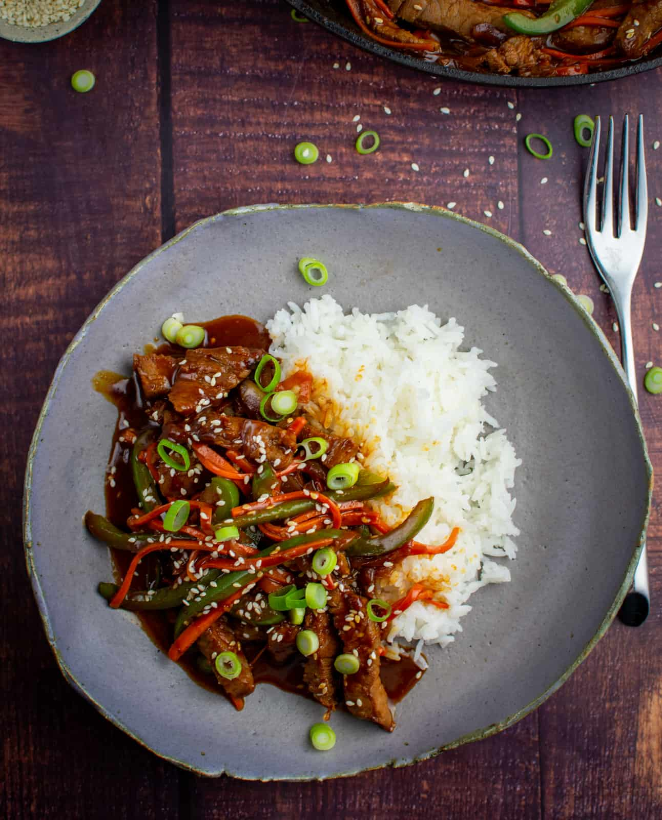 Korean beef stir-fry in a bowl with rice