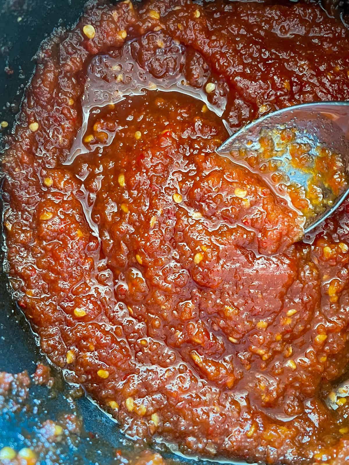 tomato chilli jam in a saucepan