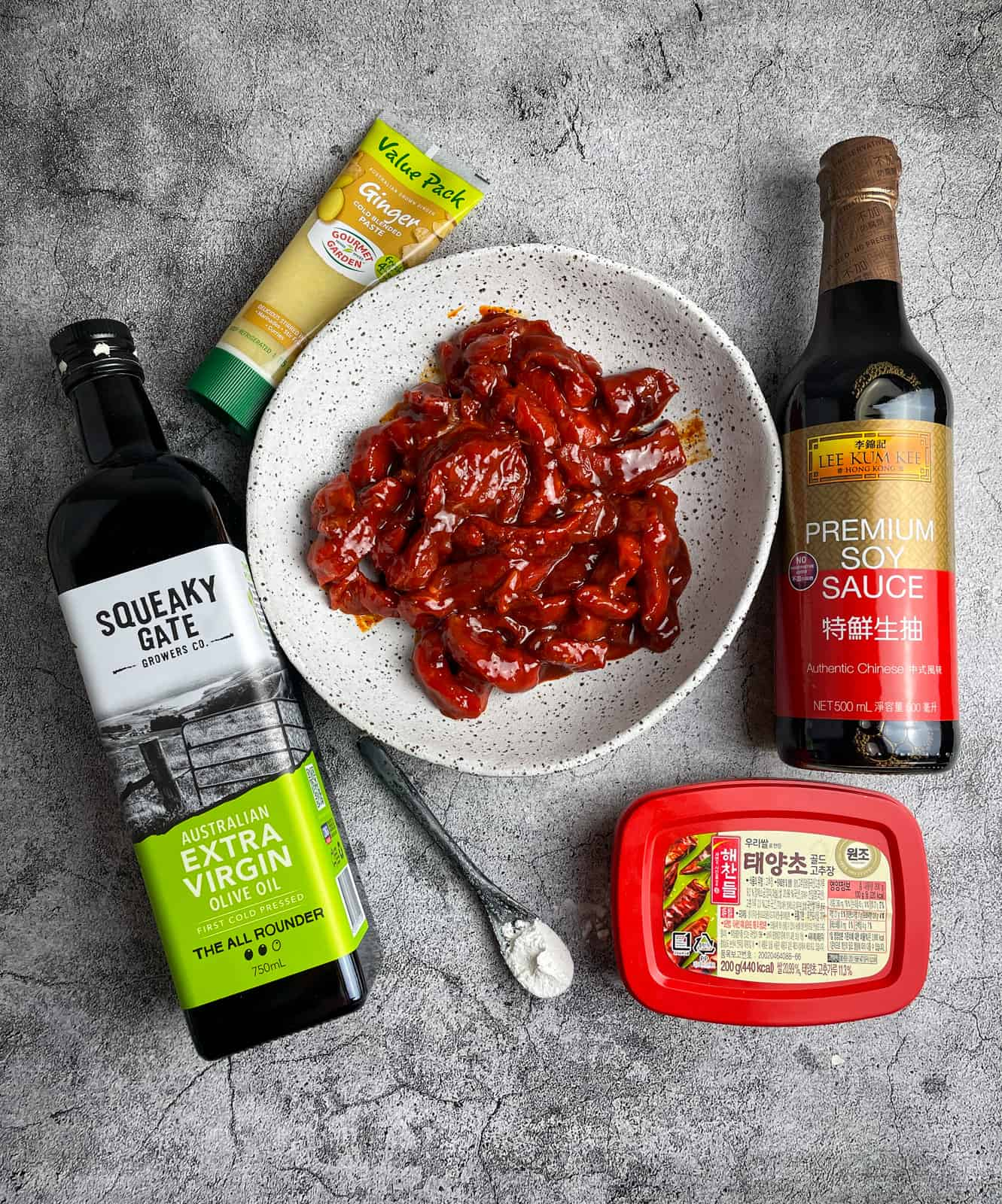 Stir-fry beef marinating and it's marinade ingredients