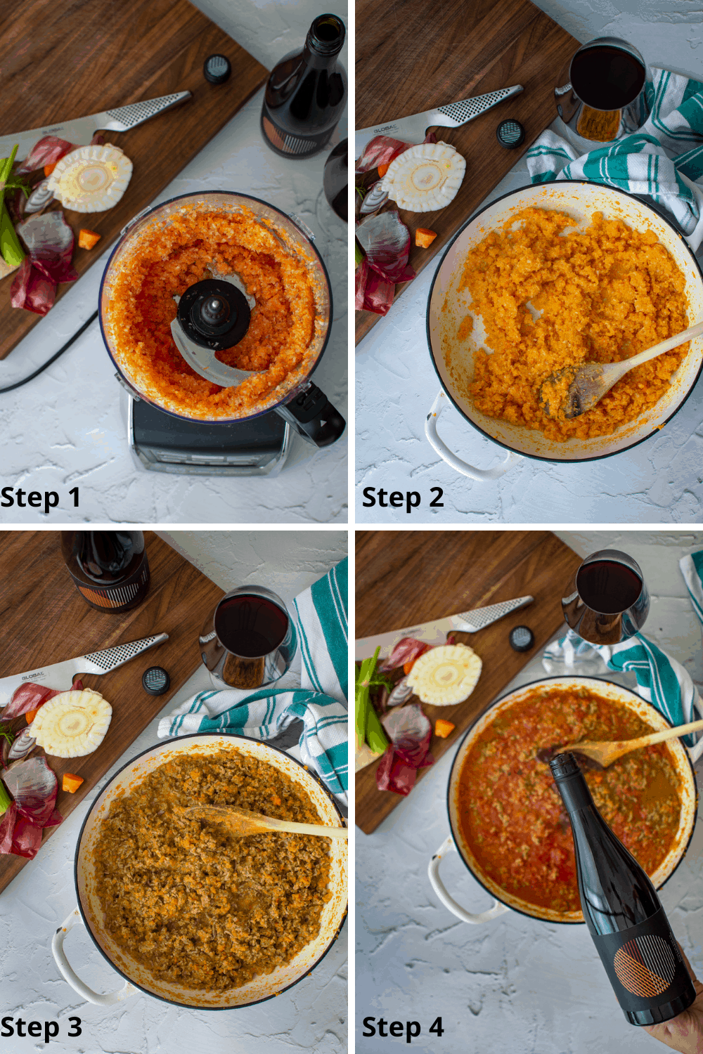 step by step images of how to make lamb mince ragu