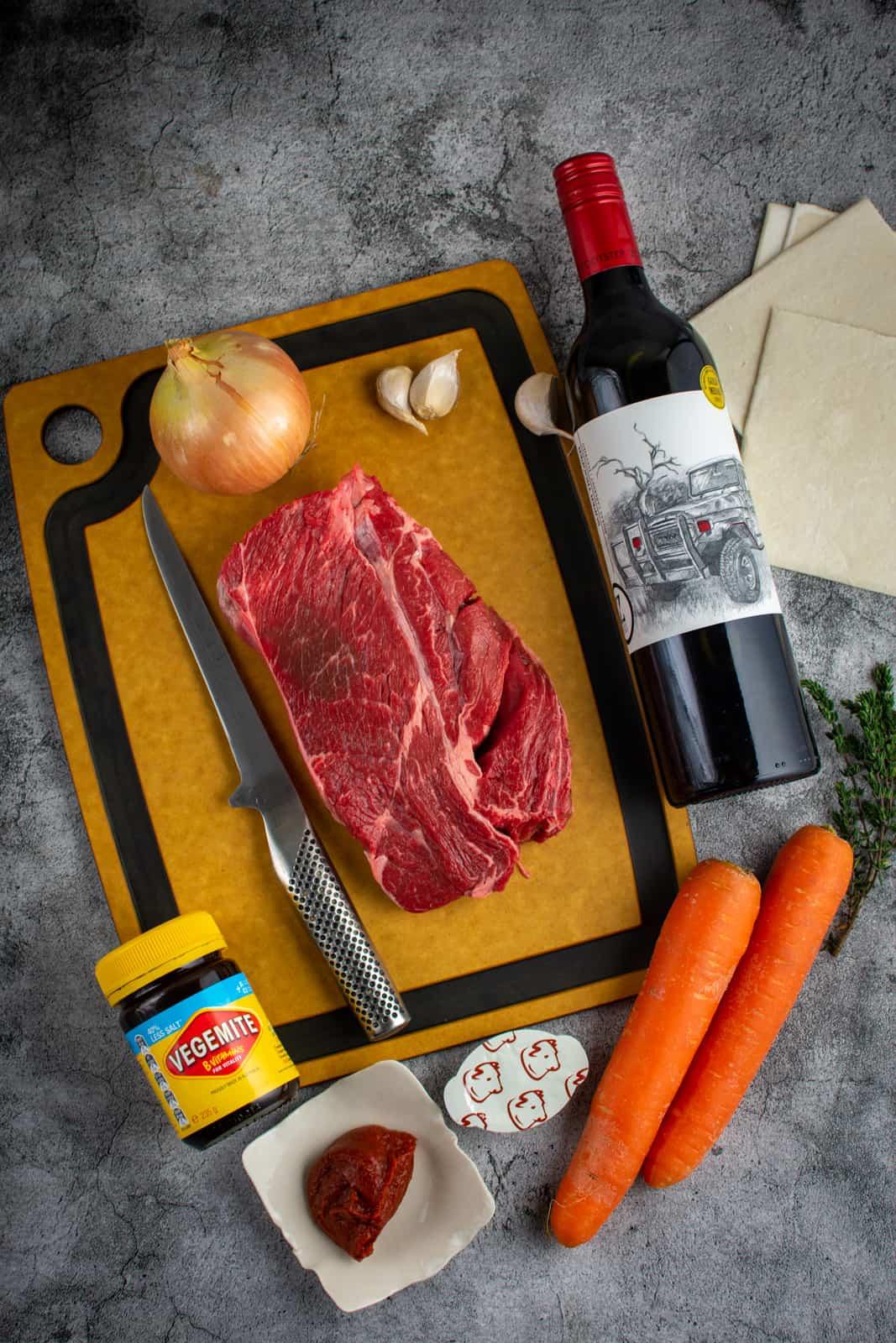ingredienst for beef & vegemite pies