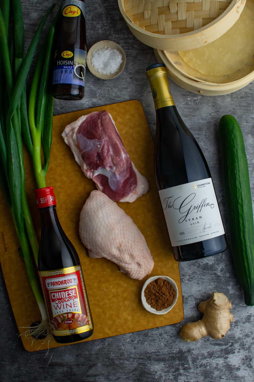 ingredients for peking duck breast on chopping board
