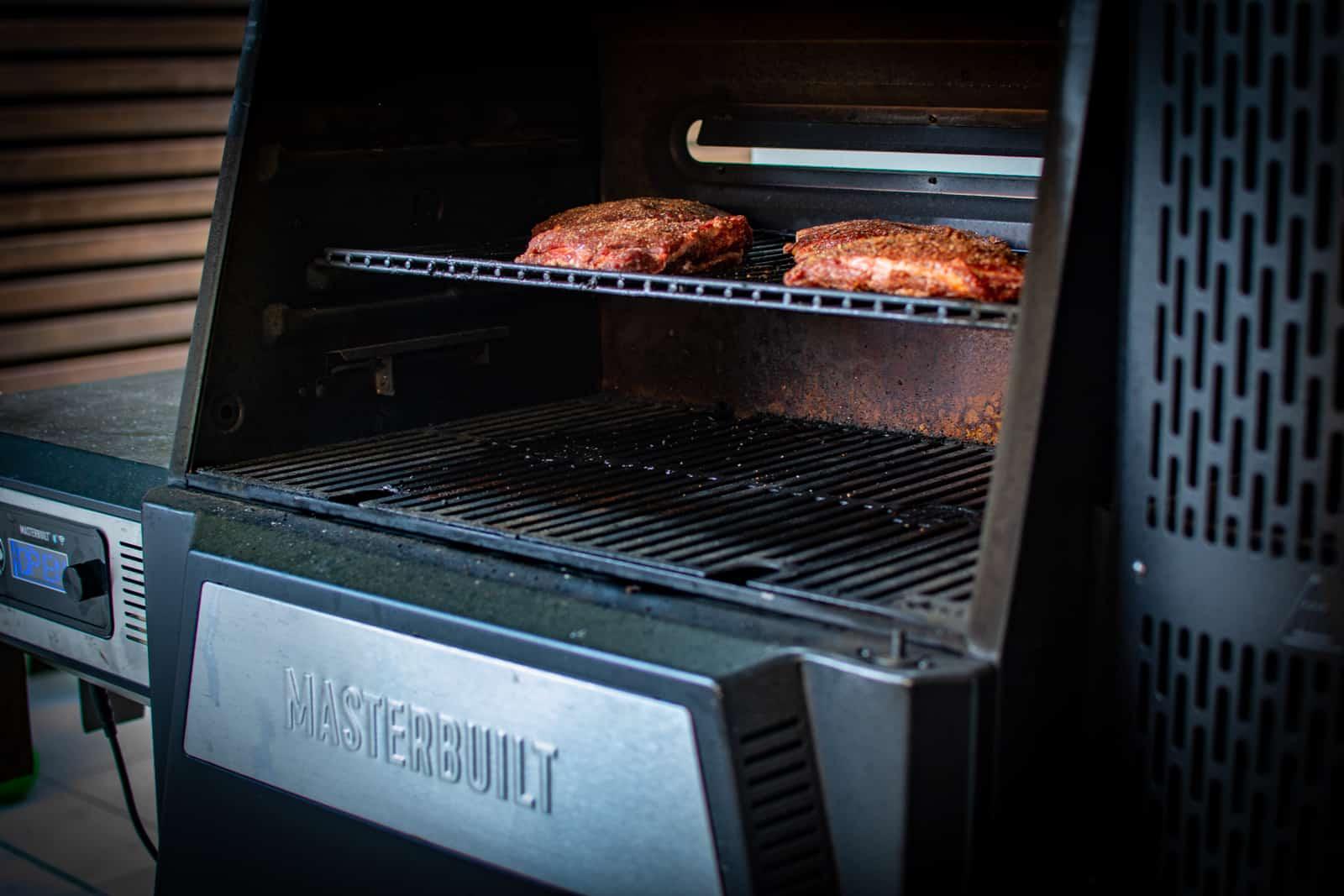 smoked beef cheeks in masterbuilt BBQ