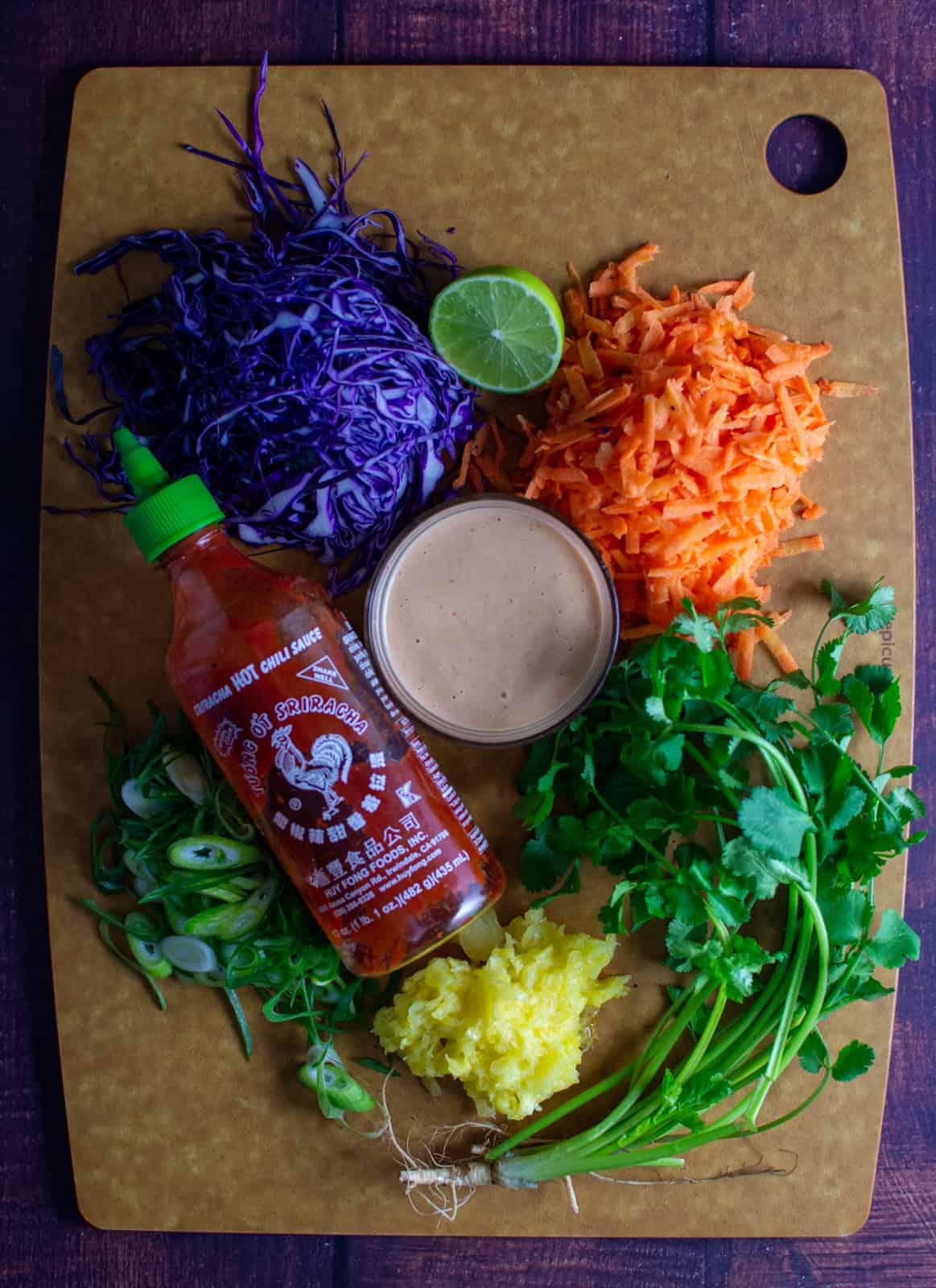 slaw ingredients and sriracha mayo