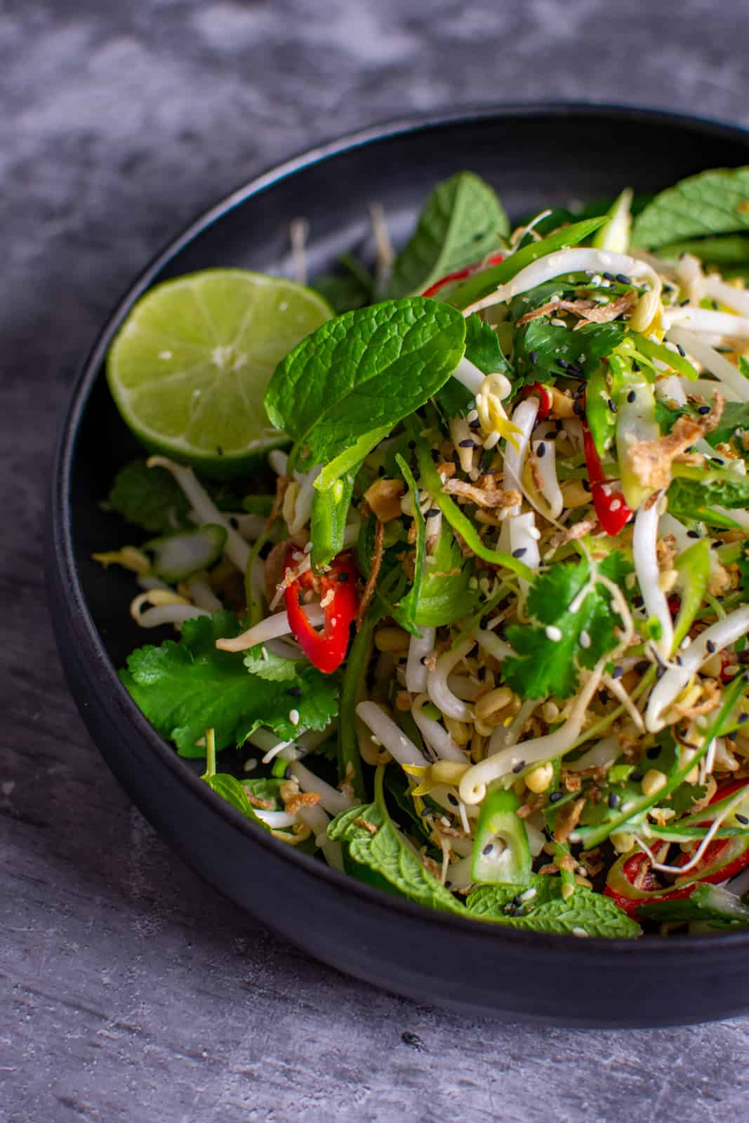 beansprout salad in a bowl
