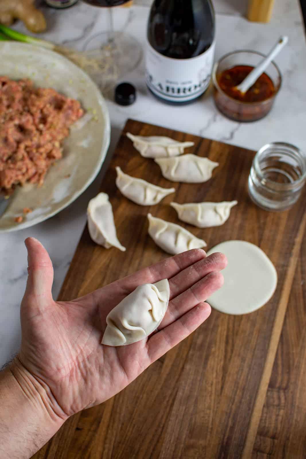 pleated pork cabbage dumpling