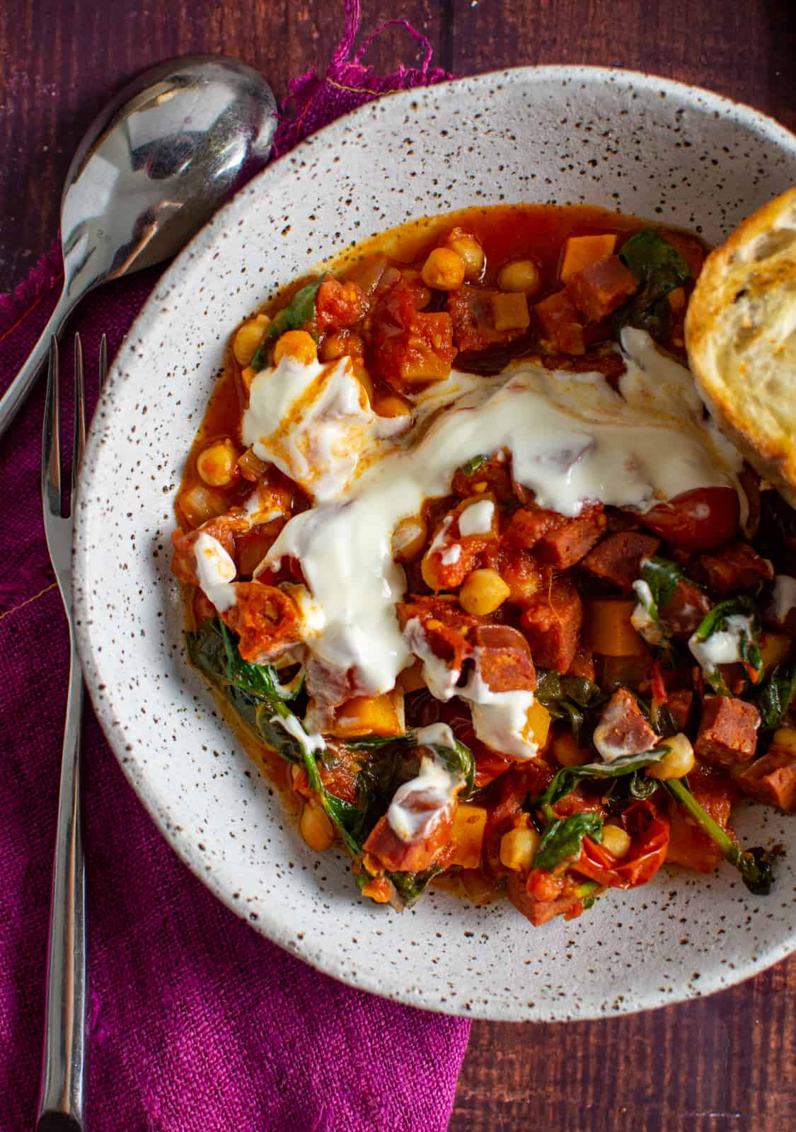 chorizo chickpea stew in a bowl