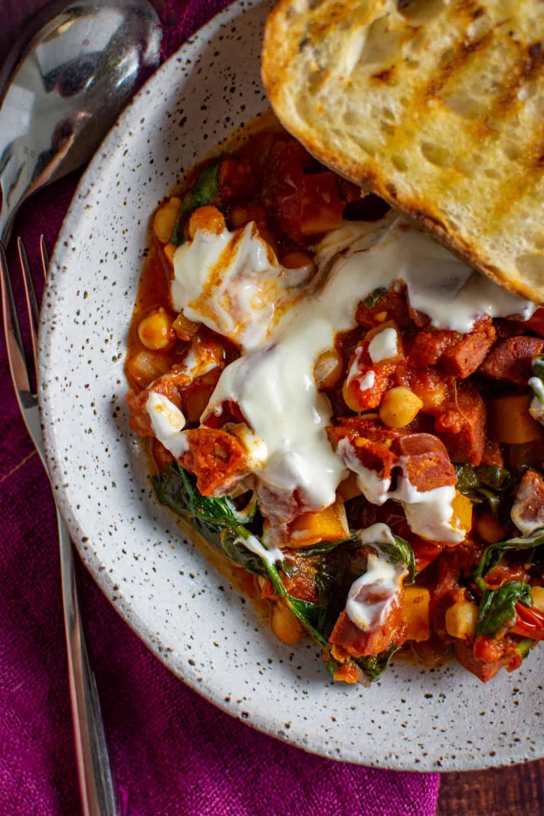 A bowl of chorizo chickpea stew