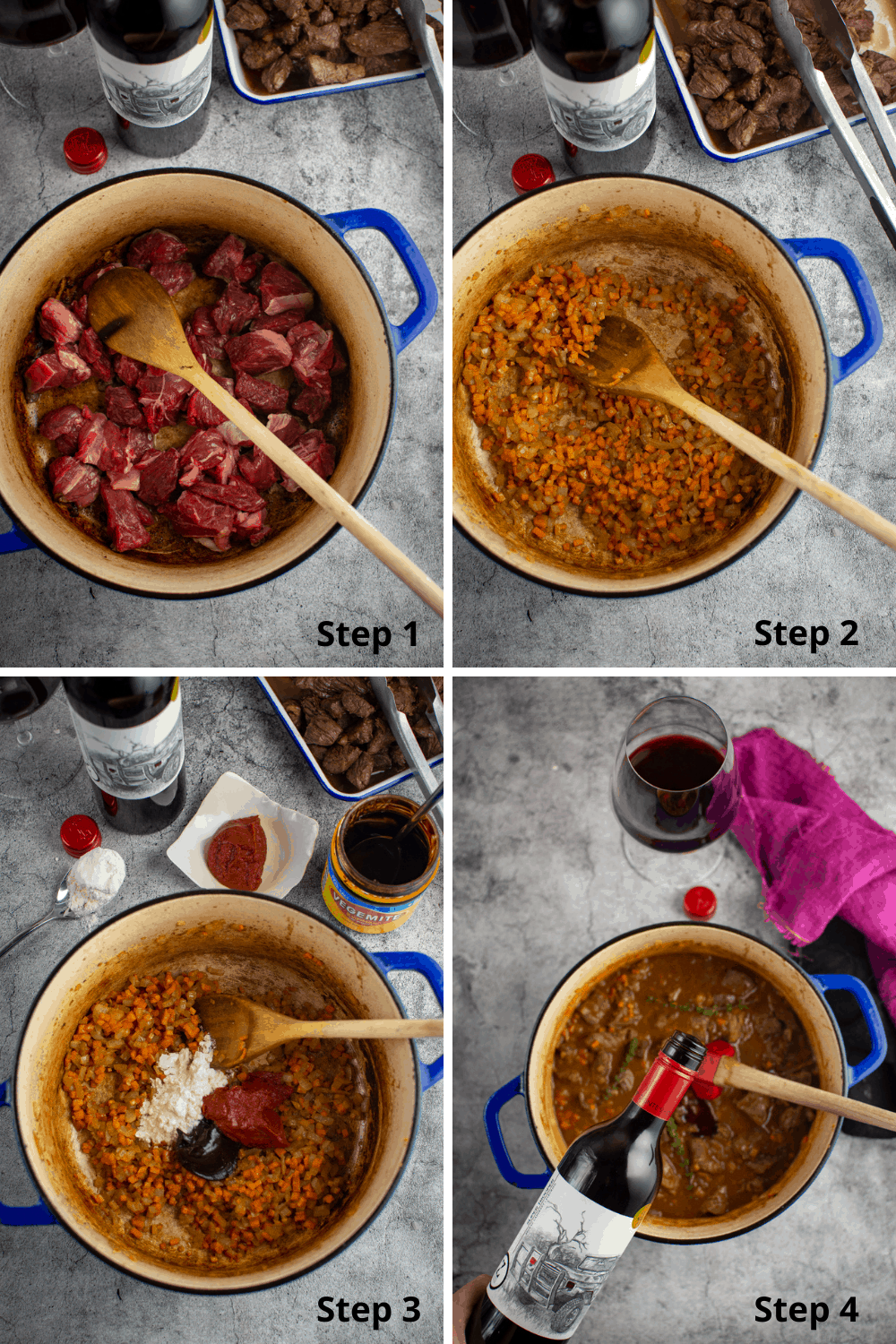 step by step instructions for chunky beef pies