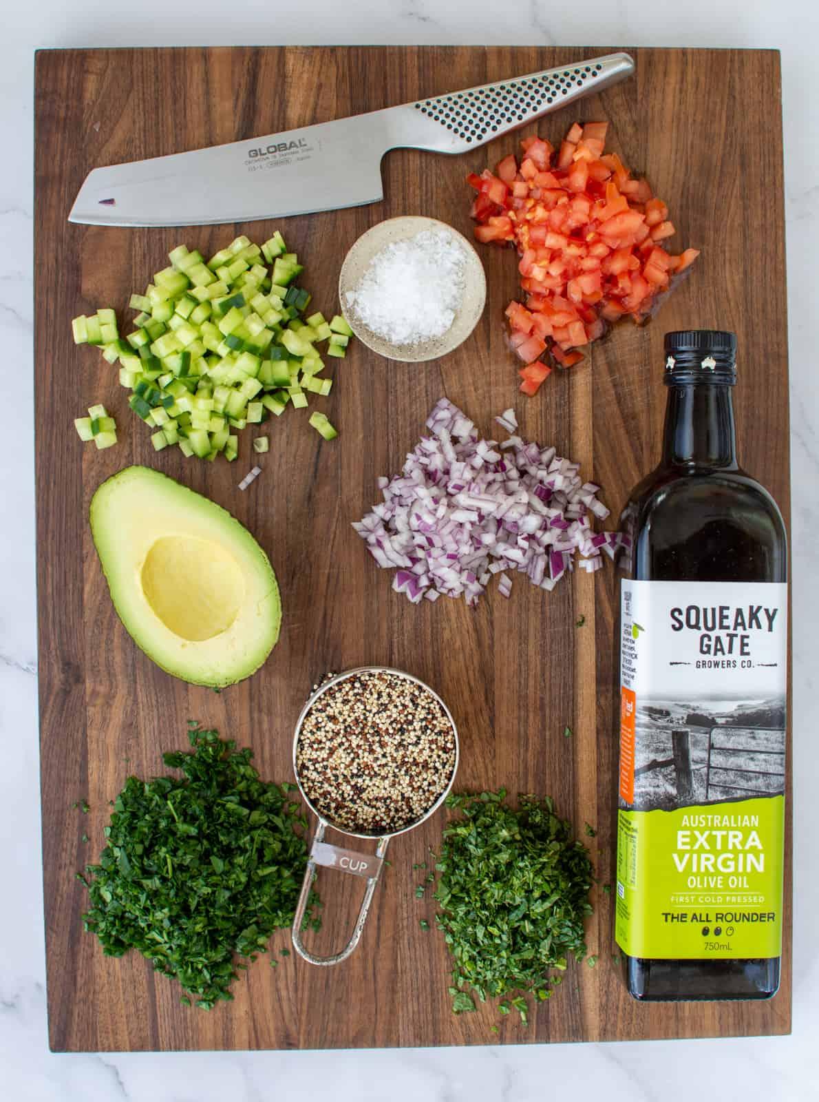 tabbouleh ingredients on chopping board